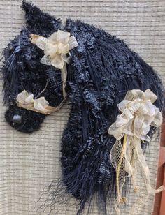 Friesian horse head wreath I created