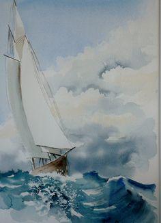 Questo è un acquerello che Vittoria Piccioni mi ha donato qualche anno fa. Mi piace moltissimo perché ci sono le onde spumeggianti che io adoro, il cielo un po' nuvoloso e le vele spiegate per andare lontano