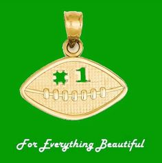 Football Textured Small 14K Yellow Gold Pendant Charm