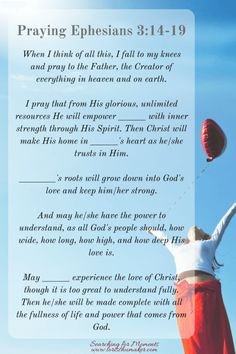 Praying Ephesians 3-14-19 -Moments of Hope with Lori Schumaker