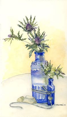 BLUE BOTTLES Watercolor Disney, Watercolor Fruit, Watercolor Flowers, Watercolor Paintings, Blue Bottle, Contemporary Artists, Flower Art, Still Life, Decoupage