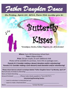 My version of a previously pinned Father Daughter Dance flyer. Love the Butterfly Kisses theme!