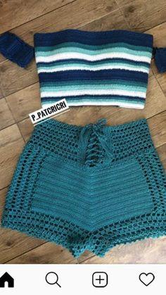 Crochet Shorts Pattern, Crochet Halter Tops, Crochet Fabric, Crochet Blouse, Easy Crochet, Crochet Bikini, Knit Crochet, Como Fazer Short, Short Tejidos
