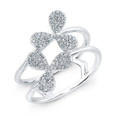 14KT White Gold Diamond Daisy Ring