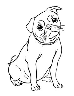 Printable pug coloring page. Free PDF download at http://coloringcafe.com/coloring-pages/pug/