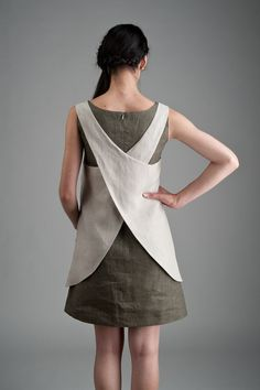 Linen Apron Dress beige Linen Apron Dress от goodmorningmidnight