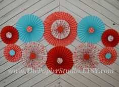 Vintage Inspried Red and Turquoise Set of 11 by ThePapierStudio