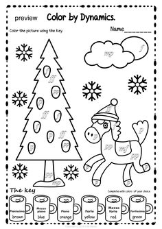 Winter Color by Dynamics Pages Music Worksheets, Worksheets For Kids, Winter Colors, Winter Theme, Easy Sheet Music, Music Symbols, Color Sheets, Music Crafts, Music Do