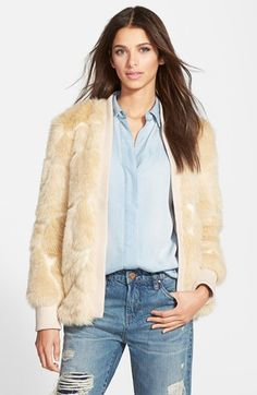 Leith+Faux+Fur+Rib+Trim+Jacket+available+at+#Nordstrom