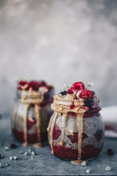 raspberry and almond butter chia pudding