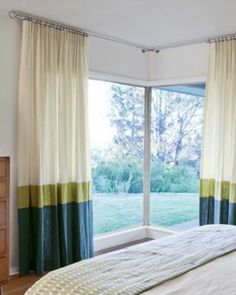 Single Pleat Drapery In Malibu Linen Rice 16274 And Geomod Hardware Rod Set Brushed Nickel 15934 Layers Of Color Block Window Treatment Panels