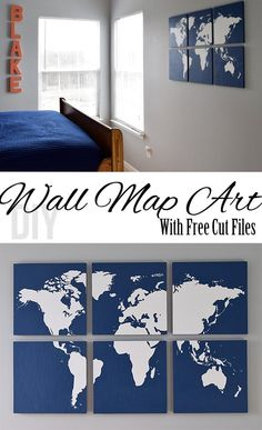 Create a stunning graphic wall art piece with wood and a world map silhouette. Tutorial for world map wall art including a Free silhouette cut file and pdf printable for each segment of the map. - Diy for Home Decor World Map Wall Art, Wall Maps, World Map Silhouette, Free Silhouette, Silhouette Cameo, Diy Wanddekorationen, Diy Crafts, Mur Diy, Home And Deco