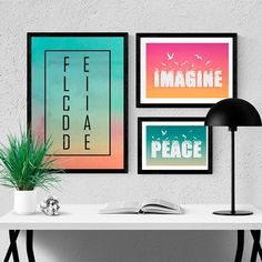 Kit de Quadros Decorativos Imagine Peace - Encadreé Posters