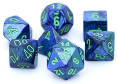 Your adventure begins with Lustrous Dice (Blue). This RPG dice set has all your favorites: d4, d6, d8, d10, d%, d12, and d20. Each Lustrous die is a magical blend of blue, and is polished to a high gl