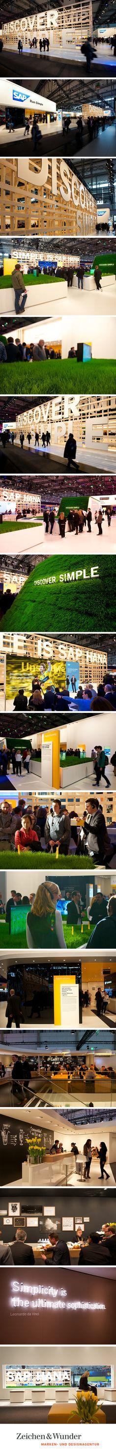 SAP AG / Markenauftritt auf der CeBIT 2015 / #discover #simple #simplicity #Messe / by Zeichen & Wunder, München