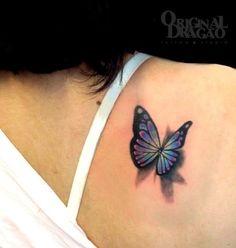3D Butterfly Tattoos for Women | Via Original Dragão Tattoo Studio