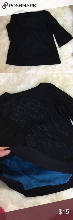 """Cocomo women black and blue blouse Great condition. Black 2/3 sleeves top over a blue tank top. It's two layers one piece. Bust 21.5"""" . Length 27"""" . So classy. Size tag is gone but it's XL . Please check the measurement above. cocomo Tops Blouses"""