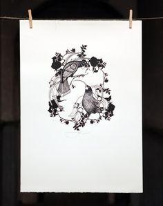 NZ Huia with kowhai botanical detail Kiwiana, Stencil Art, Office Art, Beautiful Birds, Letterpress, Art Inspo, Printmaking, Screen Printing, Illustration Art