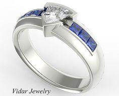 Unique Wedding Band,Mens Wedding Band,Unique Wedding Ring,Trillion Diamond Ring,Blue Sapphire Princess Cut Ring,Comfort Fit Ring,Mens Ring