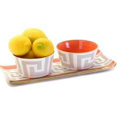 greek key cocktail tray and dip bowl