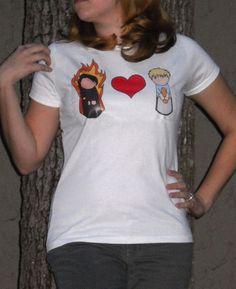 Girl on Fire Hearts Boy With Bread  #Hunger Games Tee by SplendiferousShanty, $22.00