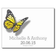 Yellow Gray Butterfly Wedding Save the Date Cards