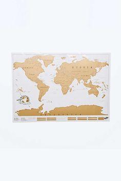 Scratch Map Landkarte - Mit dieser einzigartigen Weltkarte kannst du nicht nur deine Wände verschönern, sondern auch den Überblick über deine Reisen behalten. Denn die Kontinente sind mit einer Folie überzogen, die man an den Orten, an denen man schon einmal gewesen ist, abrubbeln kann.