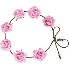Yoins Pastoral Wreath Tying Headband in Rose ($6.06) ❤ liked on Polyvore featuring accessories, hair accessories, crowns, hair, hats, pink, floral garland, headband crown, head wrap headbands and floral crown headband