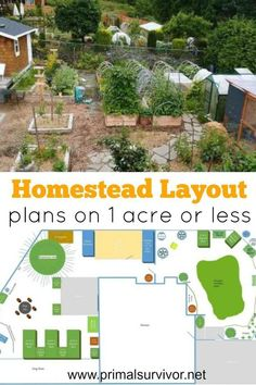 Homestead Layout Plans on 1 Acre or Less. You want to start homesteading but don't have a lot of land? Lack of land is one of the biggest excuses that I hear from people who'd like to become more self-sufficient but just don't get started. I hear you, bec Homestead Layout, Homestead Farm, Homestead Gardens, Homestead Survival, Off Grid Homestead, The Farm, Mini Farm, Small Farm, Layout Design