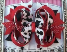 Moo Cow Stacked Boutique Hair Bow