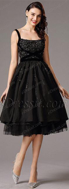 Tea length layered skirt black dress! #edressit #partydress #cocktaildress #2016
