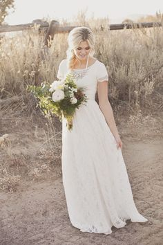 "dreamyweddingfantasies: "" Modest wedding dresses are simple yet elegant. Take a look at these 91 modest wedding dresses ideas. I love Read more: 91 Modest Wedding Dresses Ideas image source:. Cheap Wedding Dress, Wedding Gowns, Lace Wedding, Simple Country Wedding Dresses, Best Wedding Dresses, Simple Wedding Dress With Sleeves, Dresses With Sleeves, Mermaid Wedding, Wedding Hair"