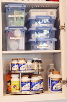 "I love how she organizes things - note the medicine bins and the ""sick caddy"". Awesome site!"