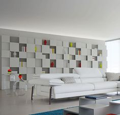 Bookcase with many niches of varying depths, matte lacquer finish available in 37 colors.  Wall-mounted.  Dimensions: W. 120 x H. 219 x ...