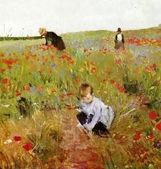 Artist: Mary Cassatt (American Impressionist Artist, 1844 – Title: Red poppies Start Date: 1874 Completion Style: Impressionism ,from Iryna Edgar Degas, Claude Monet, National Gallery Of Art, Art Gallery, Mary Cassatt Art, American Impressionism, Kunst Online, Georges Seurat, Pierre Auguste Renoir