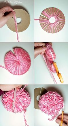 tutorial for making your own extra large yarn pom pom
