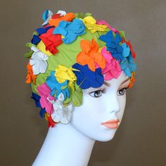 00d9c889e87 1950s 60s Swim Cap Bright Floral Flowers Bathing by daisyandstella, $50.00 Vintage  Swim, Swim