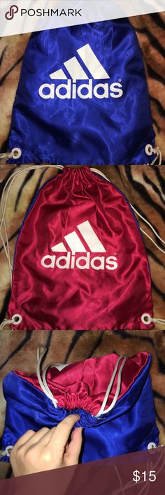 Adidas Drawstring Backbag This old style adidas drawstring backbag is on one side a beautiful red color and on the opposite side a beautiful ruby blue color. This is perfect for someone who wants a drawstring these two colors and for someone who needs a lightweight drawstring backbag! adidas Bags Backpacks