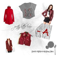 """red coat + the a team: for all you pretty little liars fanatics going through withdrawals from last night's finale, here are our A-approved """"red coat"""" polyvore picks to get you through the off-season."""
