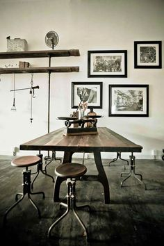 Industrial style dining table and machinists' stools   interiors