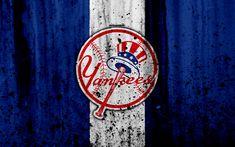 Download wallpapers New York Yankees, 4k, emblem, baseball club, MLB, America, USA, Major League Baseball, stone texture, baseball