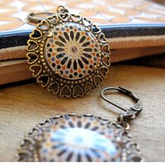 Calat Alhambra tile Tribal Boho earrings by ShrunkenCatHeads, $32.00