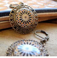 Calat Alhambra decorative tile, Tribal Boho chic earrings, Handmade Islamic tile design cabochon, antique brass setting, lever back earwires