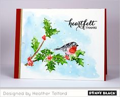 Winter Thank You Cards... download complete supplies and instructions on the Penny Black blog