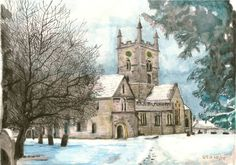 "David Oatley; Painting, ""Bishop's Cleeve Church"