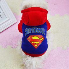 Invierno Caliente Sudaderas Con Capucha Abrigo de Ropa de Moda para Perros Mascotas Ropa Para Perros Cachorro Disfraz Superman Disfraces Chihuahua roupas para Mascotas #30