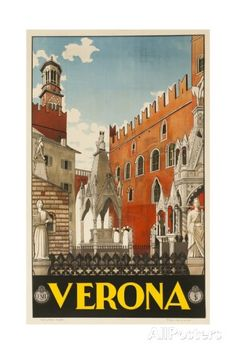 1930s Italian Travel Poster with Scaliger Tombs, Verona Impressão giclée na AllPosters.com.br