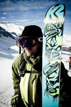 Seth Morrison with his promodel ski, the 2011/12 ObSETHed while in Chile. K2 Skis Facebook photo of the day on 2/15/12