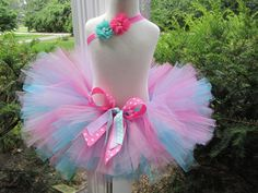 Birthday Poofy Cotton Candy Pink and Aqua by avannabelbaby Cotton Candy Party, Cotton Candy Clouds, Pink Cotton Candy, Diy Tutu, Tulle Crafts, Crochet Tutu, How To Make Tutu, Tulle Flowers, Tutu Dresses