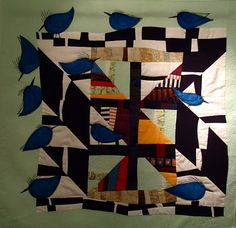 """Quilt by Linda Frost:  """"I took a quilt that I made several years ago and added birds to it. Now it is much better. I call this quilt """"Put a Bird on It!"""""""